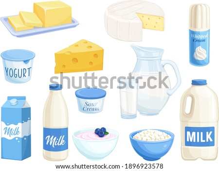 Vector set dairy products. Illustration of cottage cheese, milk, butter, cheese and sour cream. Yogurt, whipped cream for design market farm product. Stockfoto ©