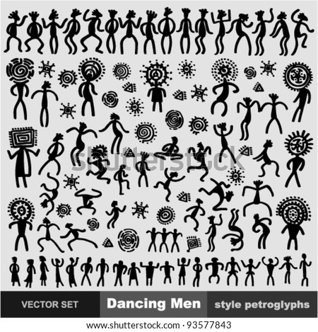 Vector SET - Dancing Men (style petroglyphs)