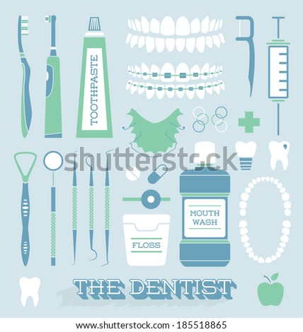 Vector Set Dentist and Tooth Care Icons