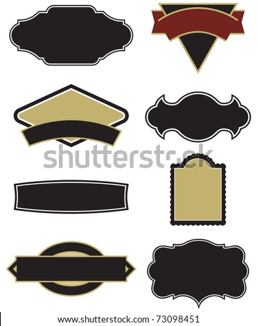 Vector set - design elements for logos, labels, etc. Easy to edit shapes and frames.