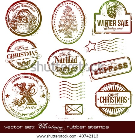 vector set: detailed vintage Christmas rubber/postage stamps