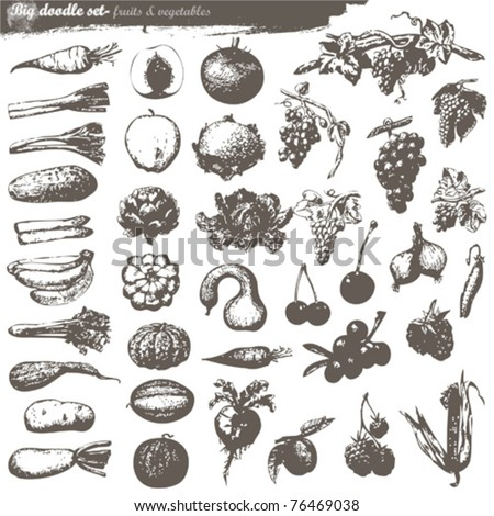 vector set - doodles - fruits and vegetables