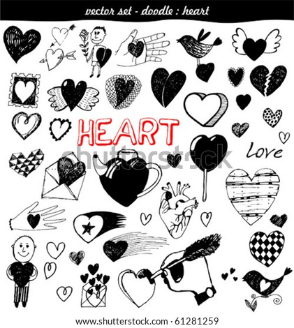 vector set - doodles - heart