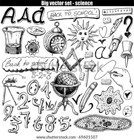 vector set - doodles - science