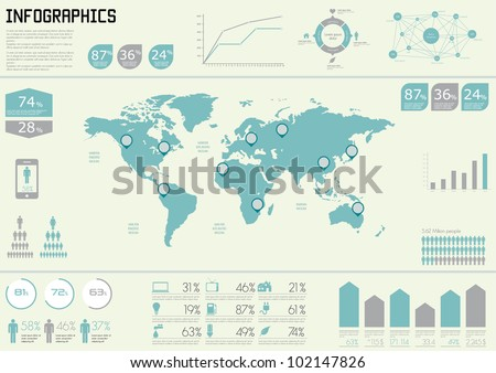 Vector Set elements of infographics. World Map and Information Graphics