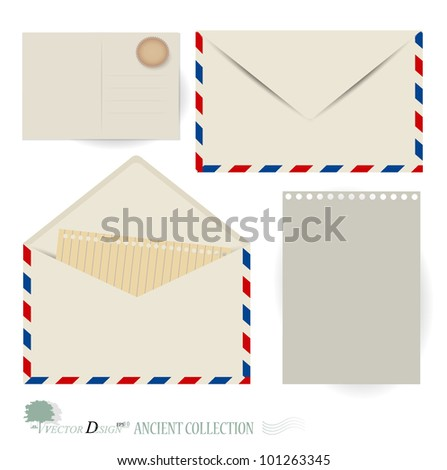 Vector set: Envelope and postcard designs.