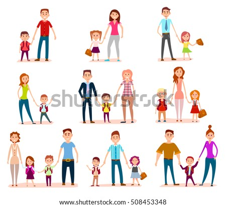 Vector set family child education concept. Mothers, fathers and schoolchildren. Pupils, bag, happy smiling faces. Happy chidhood concept. Isolated characters. School life. Generic pedagogy poster.