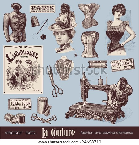 vector set: fashion and sewing (1900) #94658710