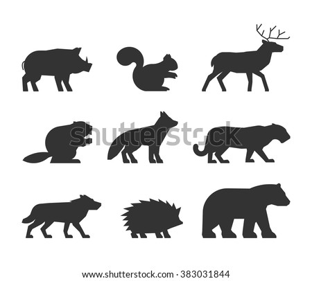 Vector set figures of wild animals isolated on white background. Black silhouettes boar, squirrels, deer, beaver, fox, puma, wolf, hedgehog and bear.