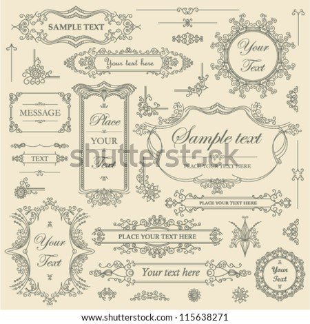 Vector SET - filigree ornament frames