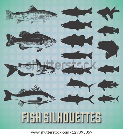 vector set  fish silhouettes