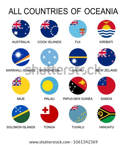 Vector Set flags of Oceania, round shape