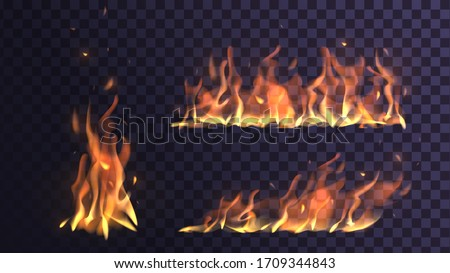 Vector set flame and bonfire on a transparent background, orange fire Foto stock ©