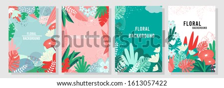 Vector set floral background, Nature background, banner, cover, templates, posters.