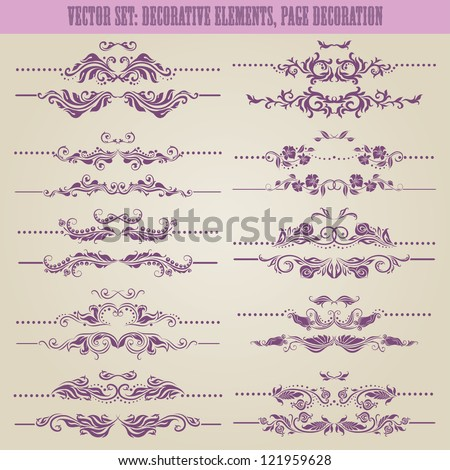Vector set floral decorative elements ornamental rules dividers Page decoration