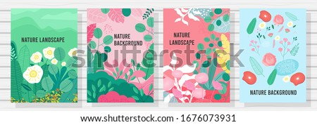 Vector set floral design template, Nature background, banner, cover, posters.