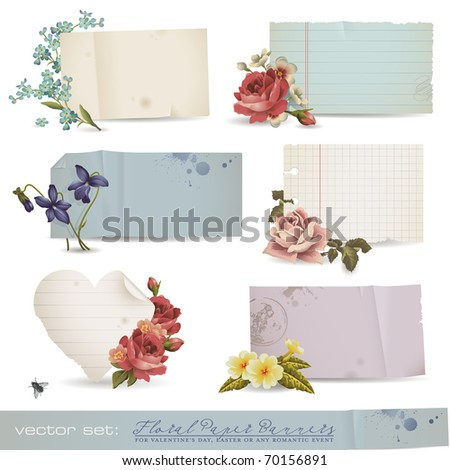 vector set: floral paper banners - variety of old sheets of paper with romantic flowers (no mesh or transparency used)