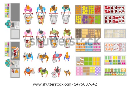 Vector set. Food store. Top view. Buyers in the store. Shop cash desk. Showcases and counters. People with shopping carts. View from above.
