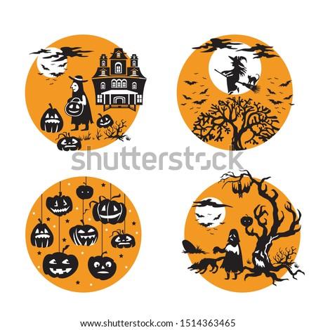 vector set for halloween  four