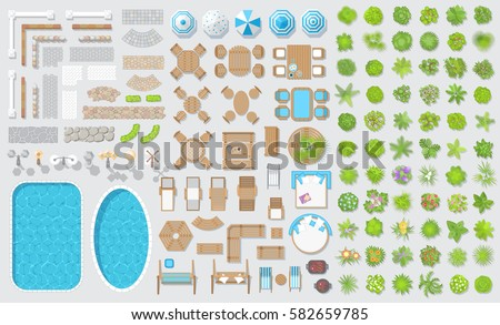 Vector set for landscape design. Outdoor furniture, architectural elements and plants. (top view) Fences, paths, lights, benches, tables, chairs, sun loungers, umbrellas, swings. (view from above)