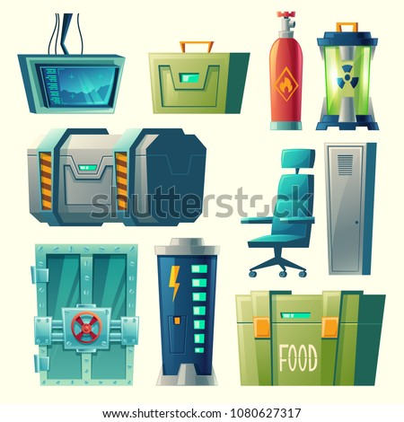 Vector set for scientific laboratory, interior of secret bunker with lab devices, equipment. Cartoon post-apocalyptic game collection. Base for creation