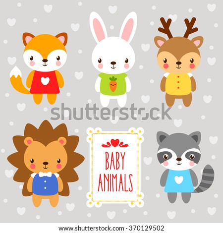 vector set forest  baby animals