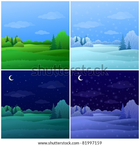 vector  set forest landscapes