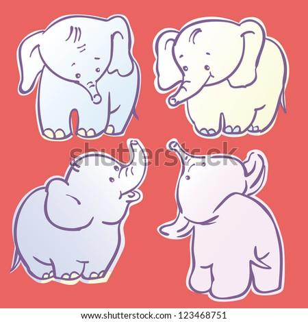 Vector set - four  cartoon elephants