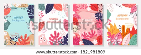 vector set four seasons  winter