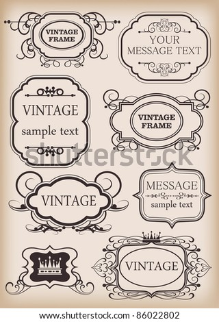 Vector set Frame Vintage Elements for your design Calligraph y