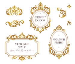Vector set frames and vignette for design template. Element in Victorian style. Golden floral borders. Ornate decor for invitations, greeting cards, certificate, thank you message.
