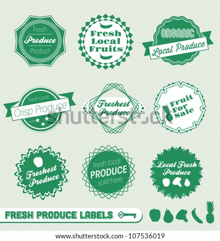 Vector Set: Fresh Organic Produce Labels