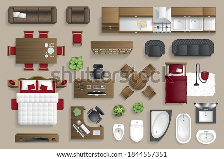 Vector set. Furniture for the bedroom, living room, kitchen, office, bathroom. Top view. Double bed, desk, sofa, wardrobe, bath, sink, chair. View from above.