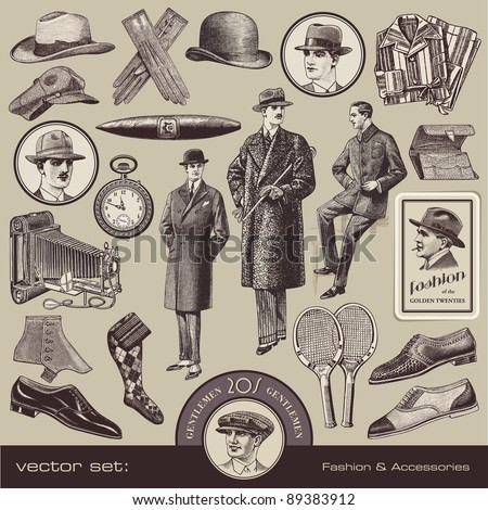 vector set Gentlemen's fashion and accessories of the 20s