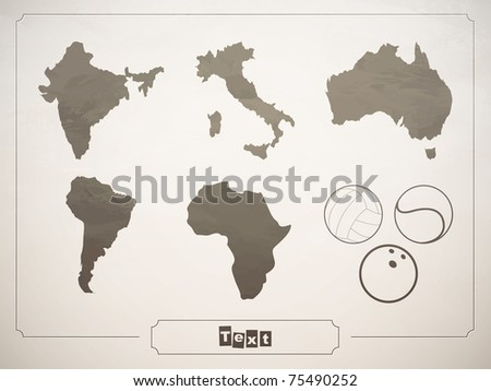 vector set geographical countries, continents and sports balls
