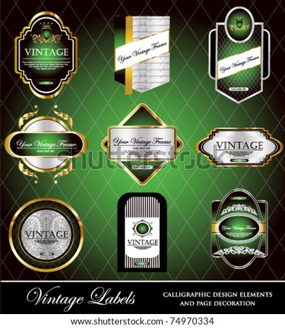vector set: gold-framed labels - 9 items on different topics