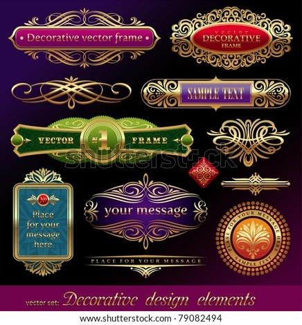 Vector set - golden ornate page decor elements:  banners, frames, dividers, ornaments and patterns on dark background