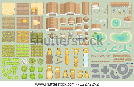 Vector set. Green farm. (top view) Fields, vegetable gardens, hangars, buildings, barns, agricultural machinery, ponds, road. (view from above)