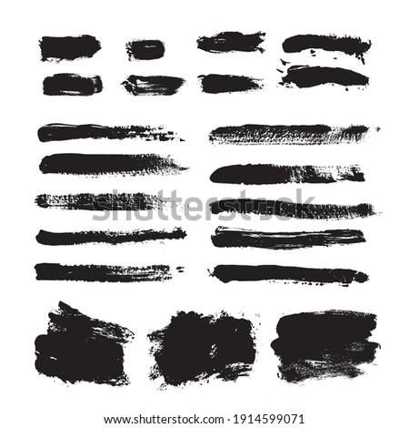 Vector set grunge brush stroke. Black paint brush hand drawn.