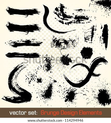 Vector Set. Grunge Design Elements. Splash Illustration.