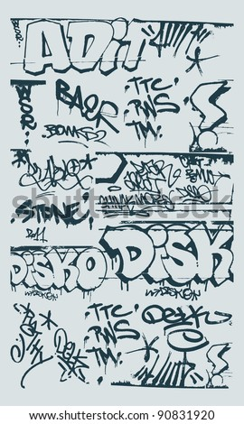 vector set grunge graffiti design elements - stock vector