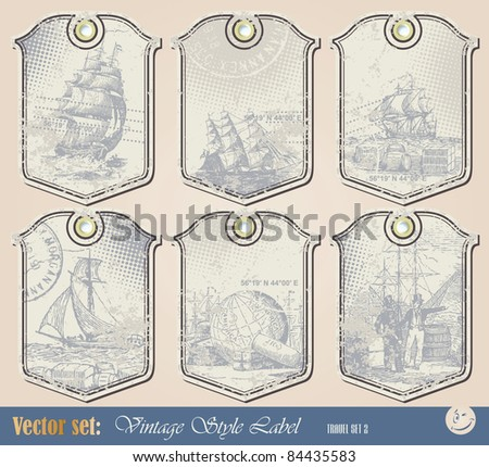 Vector set: Grunge nautical label for decoration and design