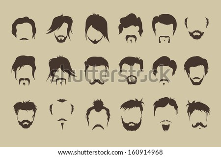 vector set hair  mustache