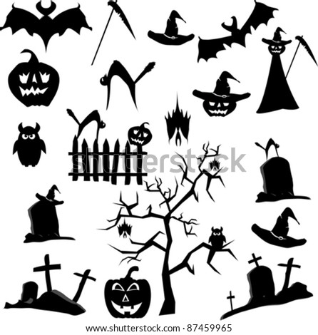 Vector Set Halloween (bat, cat, scythe, hat, tree, grave, ow, death, pumpkin)