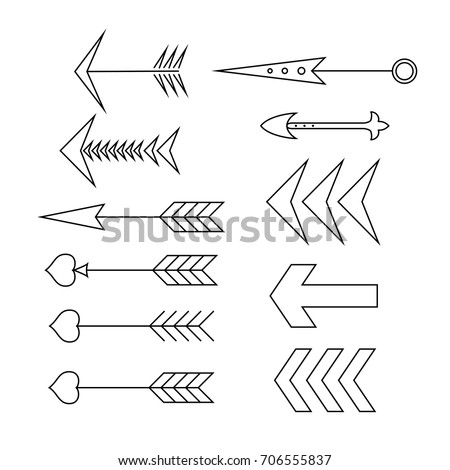 Vector set. Hand drawn arrows. Calligraphy, graphic design elements for page decoration (text divider, pattern, monogram, curlicues), Greeting Cards (wedding, Valentine's, birth day, holidays). EPS 10