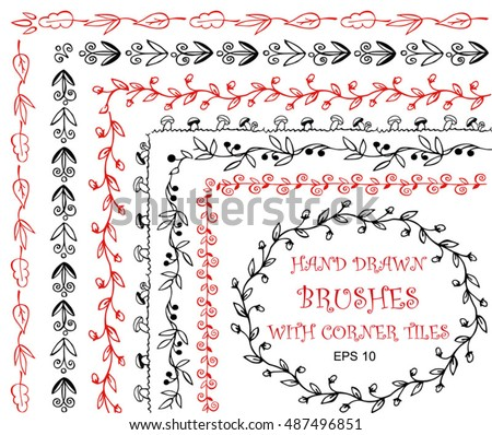 Vector Set Hand Drawn Brushes With Corner Tiles Different Colors For Frames Borders And