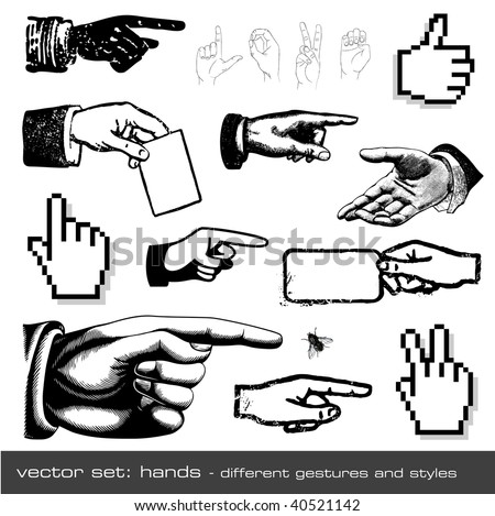 vector set hands different gestures and styles 12 items