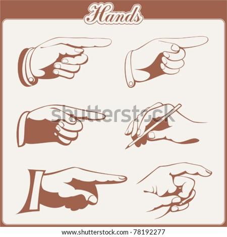 vector set: hands - 6 items