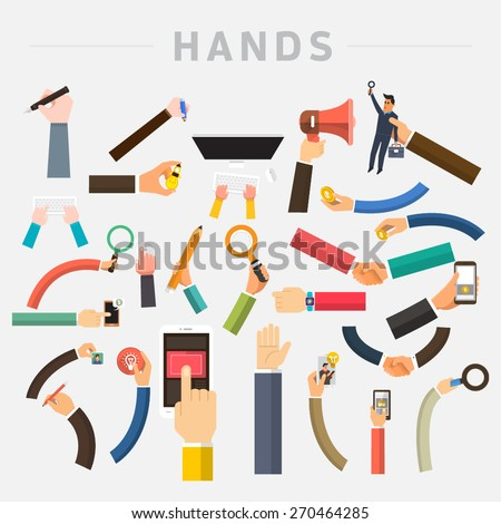 Shutterstock Vector set hands. Mix hand hold multi device for use in muti layout design.