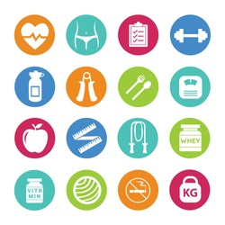 Vector - Set - 16 Health and Fitness icons